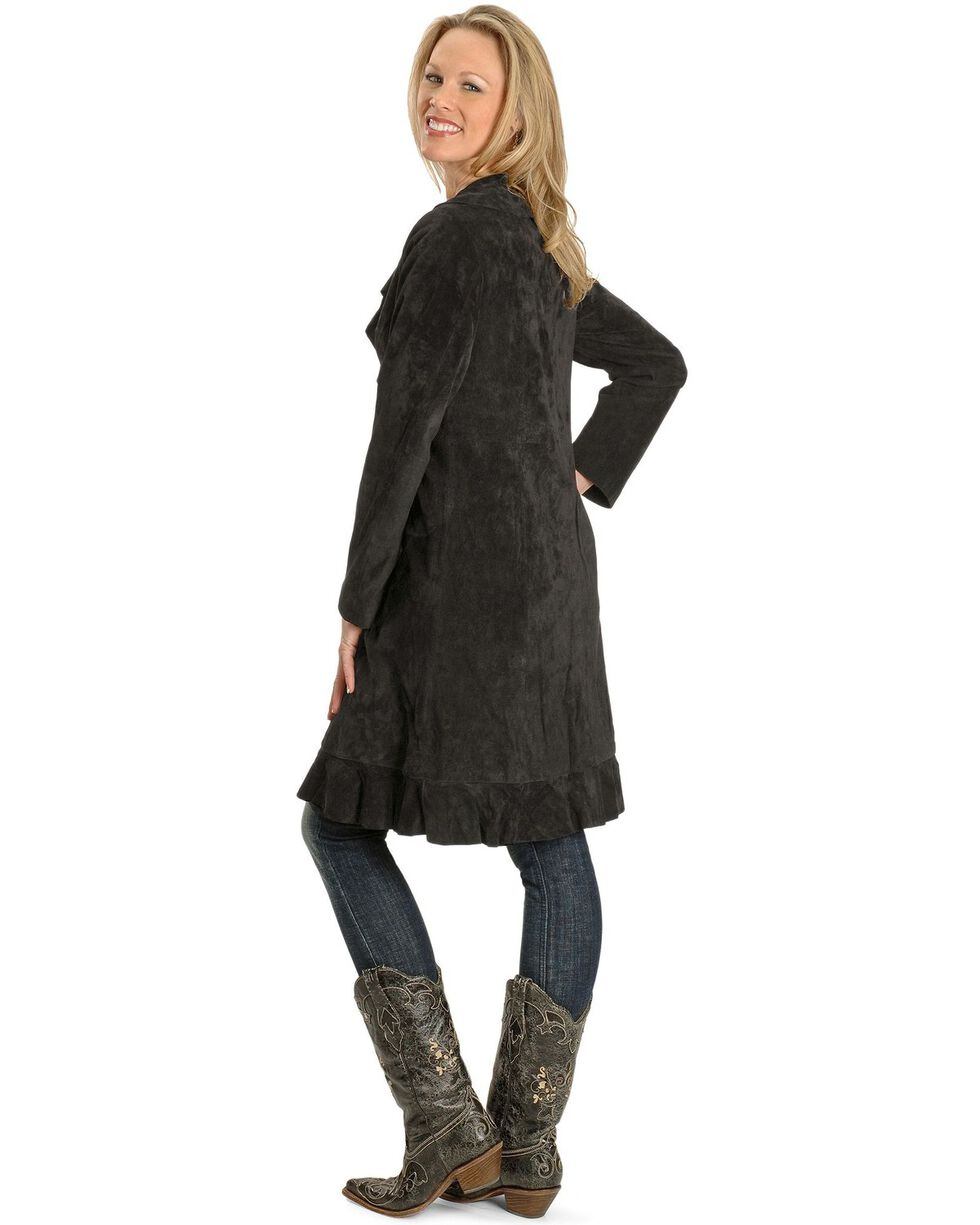 Scully Ruffle Suede Leather Long Jacket, Black, hi-res