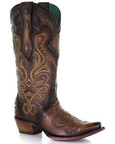 Corral Women's Brown Overlay Western Boots - Snip Toe, Brown, hi-res