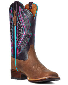 Ariat Women's Shadow Primetime Western Boots - Wide Square Toe, Brown, hi-res