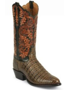 Tony Lama Men's Exotic Caiman Belly Leather Western Boots - Round Toe, Black, hi-res
