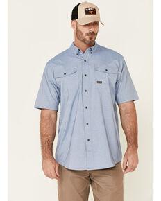 Ariat Men's Light Blue Rebar Made Tough VentTek Durastretch Short Sleeve Button-Down Work Shirt, Light Blue, hi-res