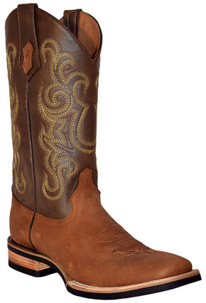 Ferrini Men's French Calf Leather Cowboy Boots - Square Toe, Cafe, hi-res