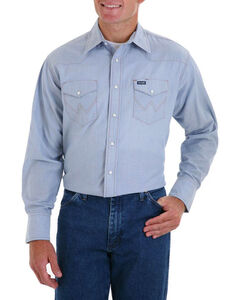Wrangler Men's Cowboy Cut Work Chambray Shirt - Big & Tall, Blue, hi-res