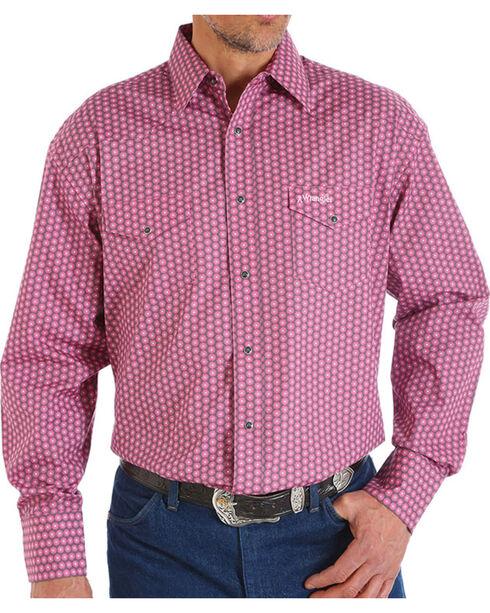 Wrangler Men's Tough Enough To Wear Pink Plaid Long Sleeve Shirt, Pink, hi-res