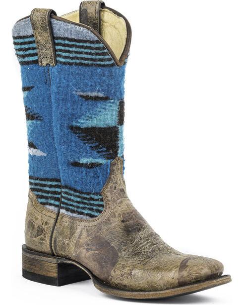 Stetson Roxanne Blue Serape Cowgirl Boots - Square Toe, Brown, hi-res