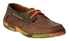 Ariat Boys' Orange & Green Camo Sole Caldwell Boat Shoes , Earth, hi-res