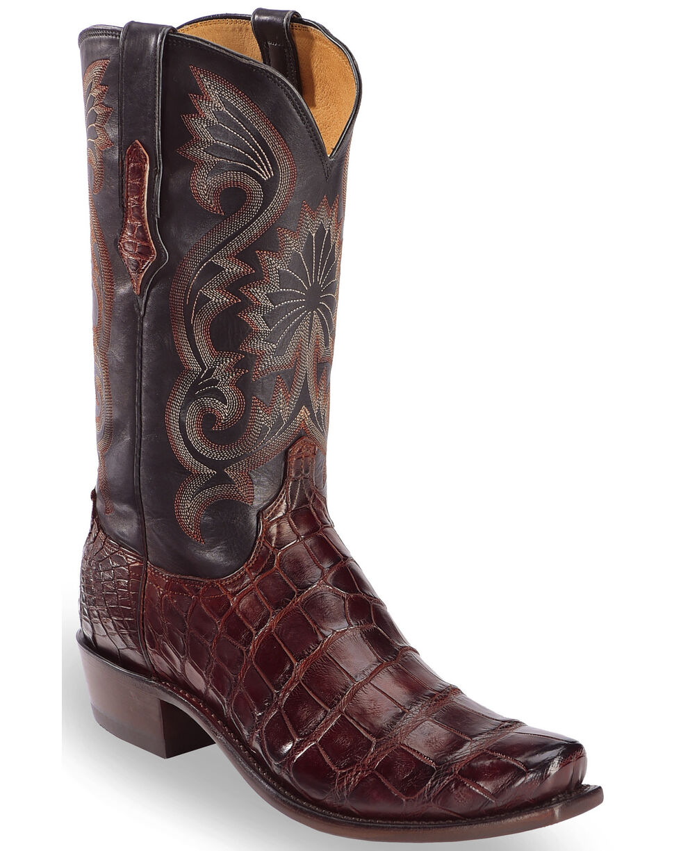 Lucchese Men's Rio Giant Gator Western Boots - Square Toe , Black, hi-res