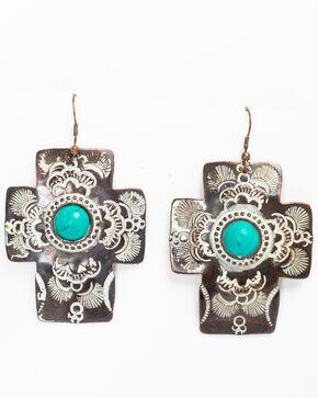 Shyanne Women's Chocolate Copper Cross Earrings, Tan/copper, hi-res