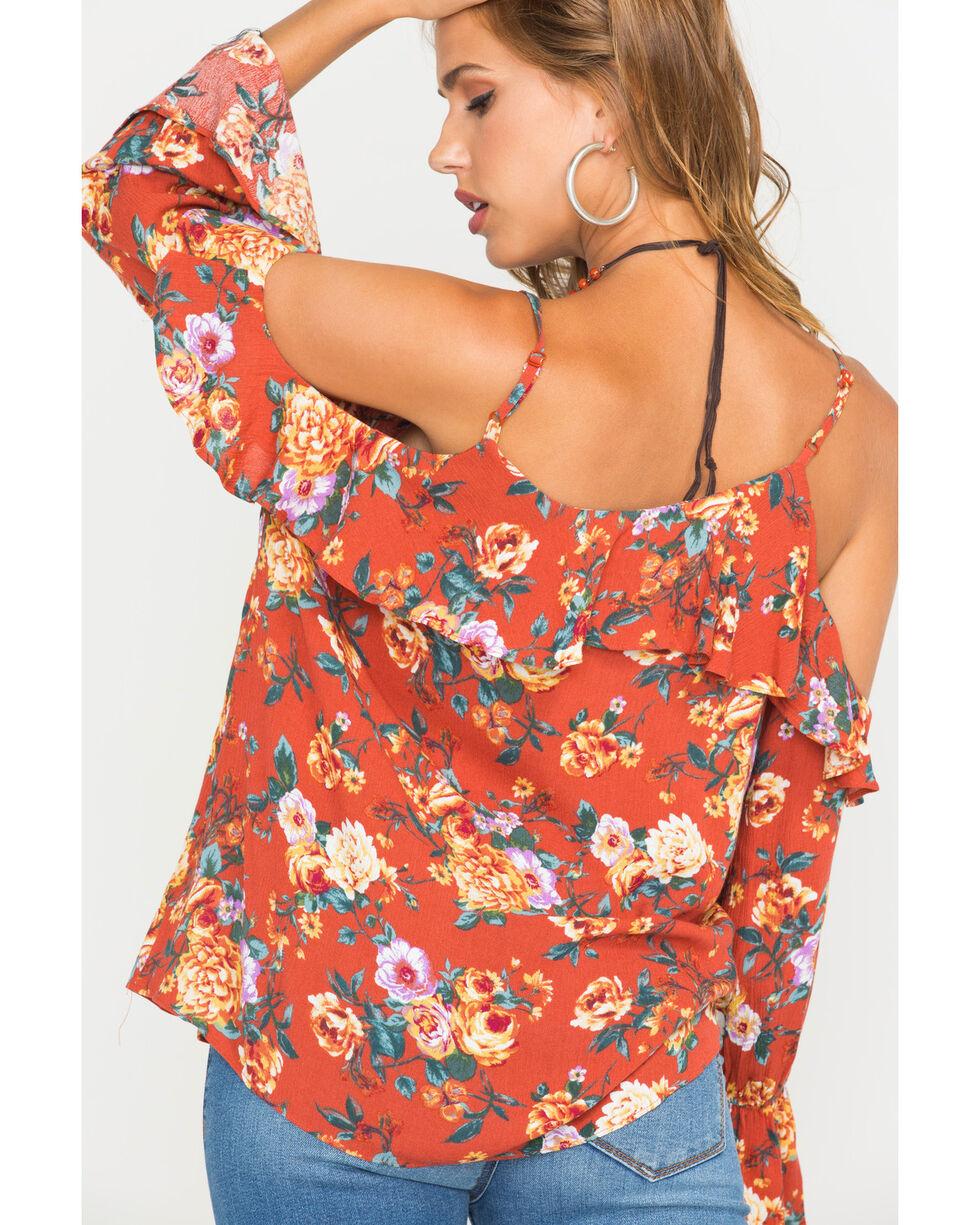 Miss Me Women's Rust Orange Floral Cold Shoulder Ruffle Sleeve Blouse, Rust Copper, hi-res
