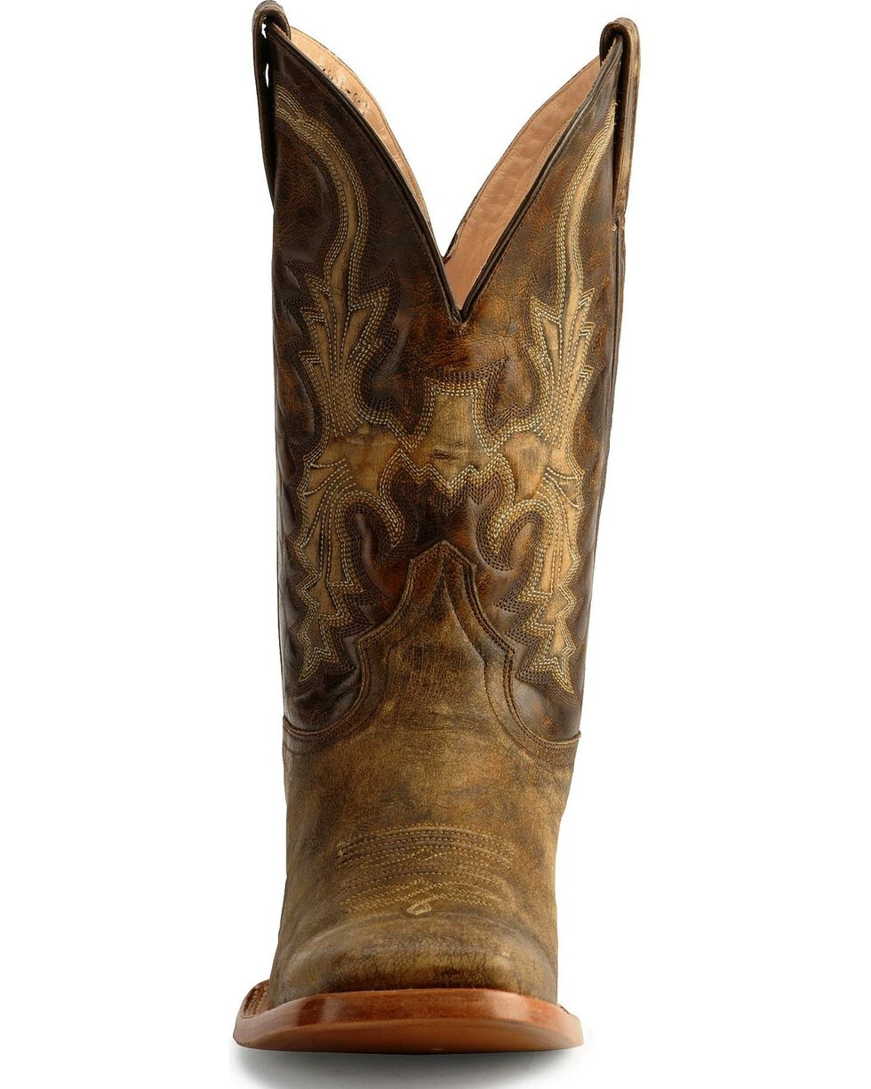 Stetson Distressed Cowboy Boots - Square Toe, Chocolate, hi-res
