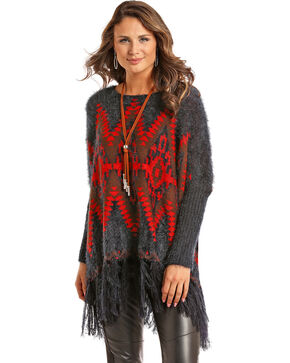 Powder River Outfitters Women's Aztec Fringe Pullover Sweater, Grey, hi-res
