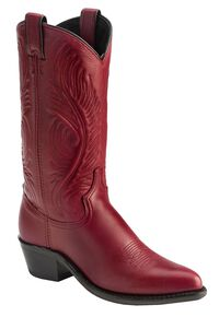 Abilene Cowhide Cowgirl Boots - Pointed Toe, Red, hi-res