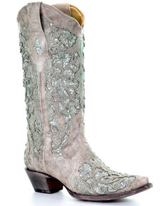 Corral Women's Glitter Inlay & Crystals Boots - Snip Toe, White, hi-res