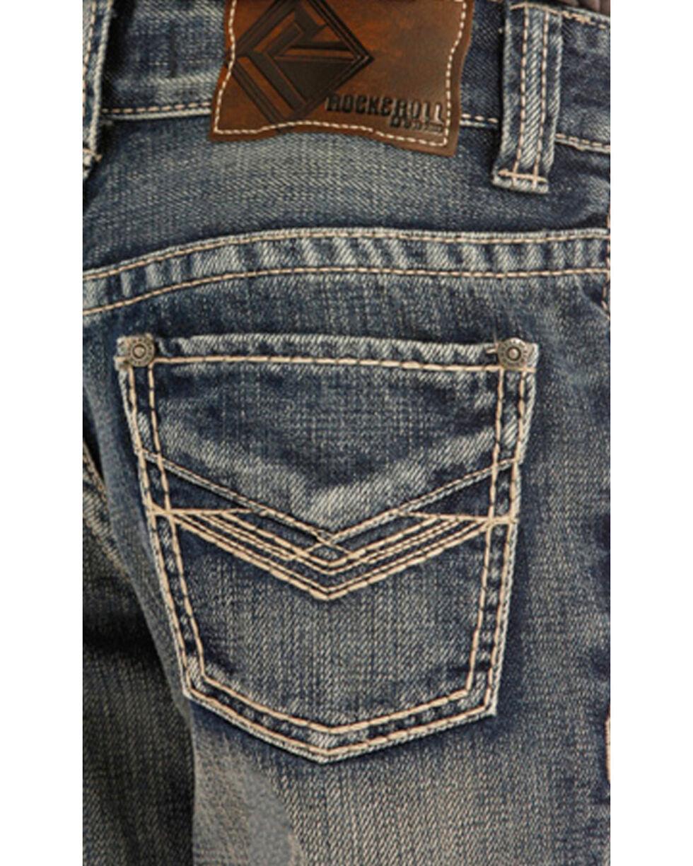 "Rock & Roll Cowboy Boys' Blue ""V"" Embroidery Jeans - Boot Cut, Blue, hi-res"
