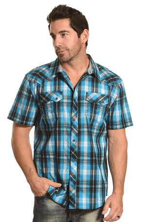 Moonshine Spirit Men's Plaid Long Sleeve Shirt, Turquoise, hi-res