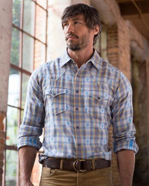 Ryan Michael Men's Blue Corn Ombre Dobby Plaid Shirt , Blue, hi-res