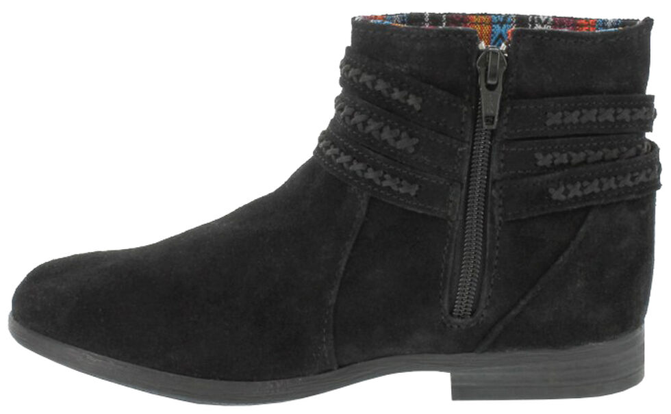 Minnetonka Women's Dixon Booties - Round Toe, Black, hi-res