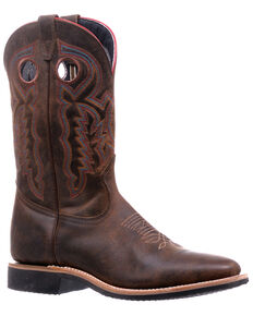 Boulet Men's Dark Brown Western Boots - Wide Square Toe, Dark Brown, hi-res