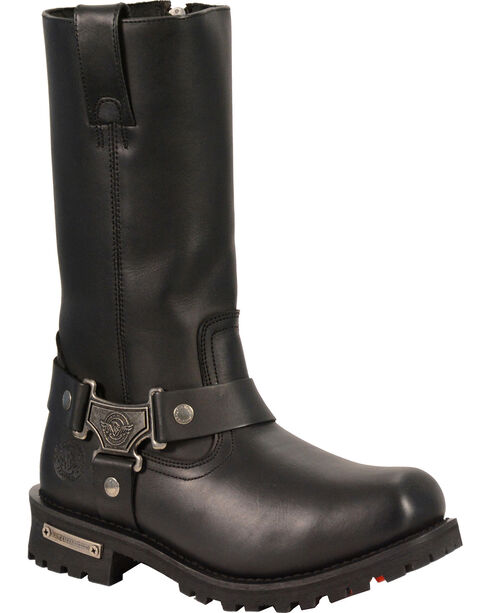 """Milwaukee Leather Men's 11"""" Classic Harness Boots - Square Toe - Wide, Black, hi-res"""