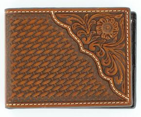 Nocona Basketweave w/ Tooled Overlay Bi-fold Wallet, Tan, hi-res
