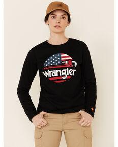 Wrangler FR Women's Wrench Flag Graphic Long Sleeve Work T-Shirt, Black, hi-res