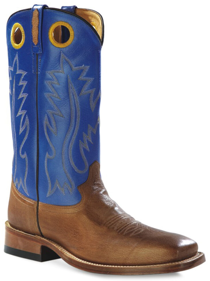 Old West Men's Round Hole Two-Tone Western Cowboy Boots - Square Toe, Tan, hi-res