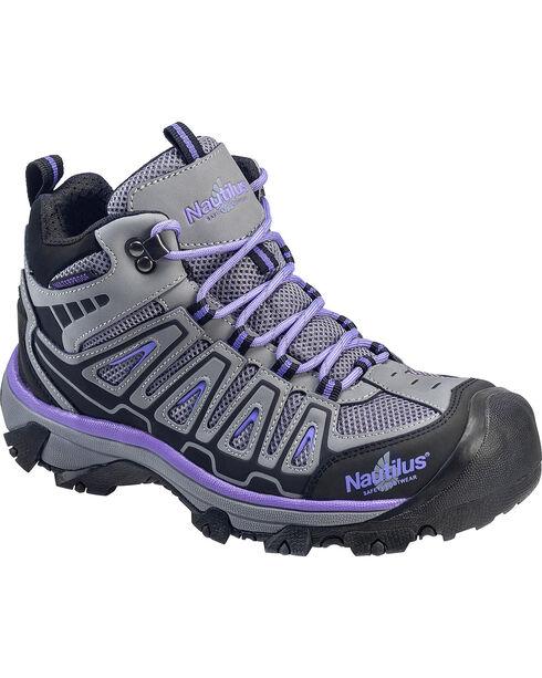 Nautilus Women's Grey and Purple Lightweight Waterproof Hiker Work Boots - Steel Toe , Grey, hi-res