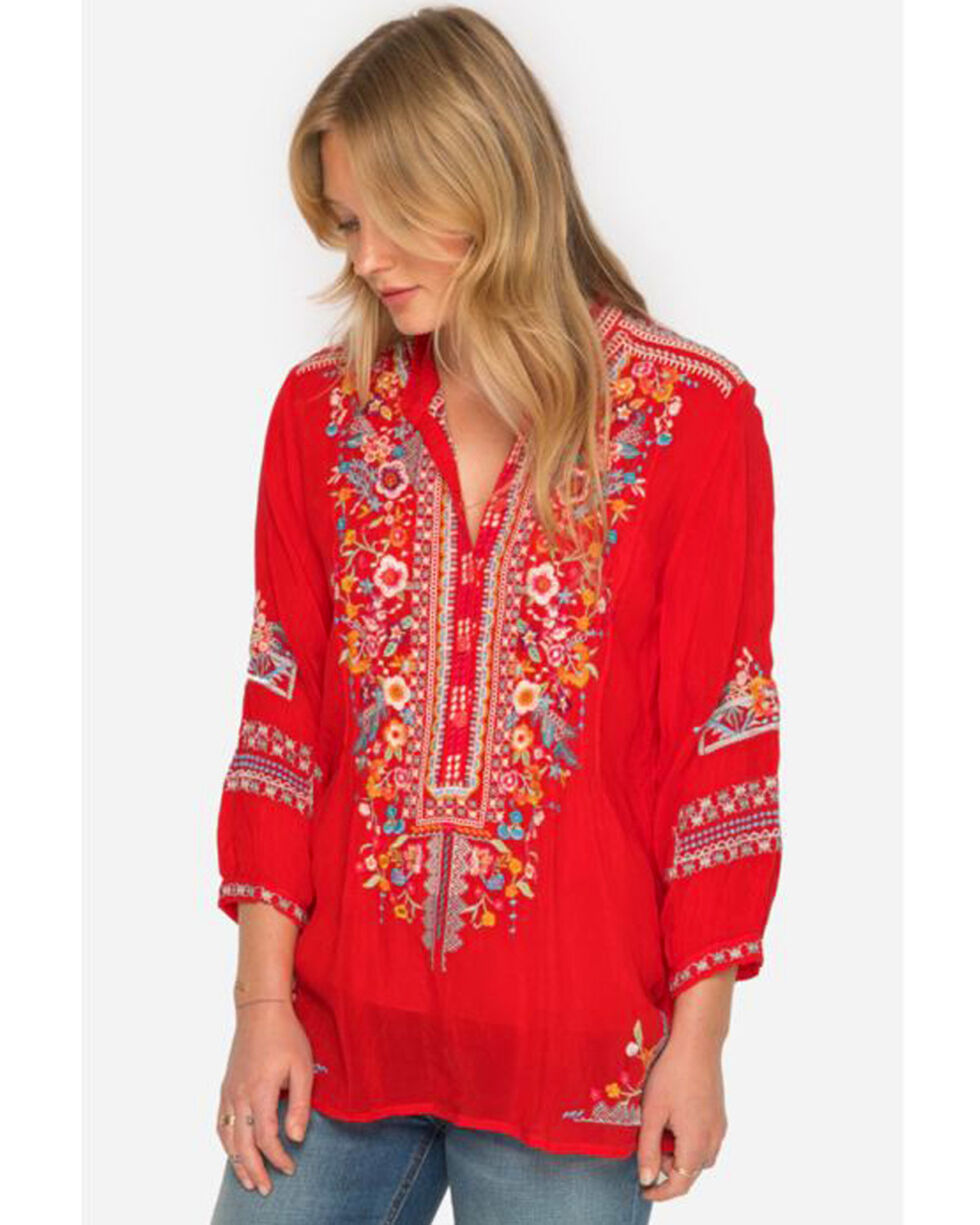 Johnny Was Women's Embroidered Bethany Tunic, Medium Red, hi-res