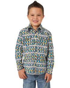 Wrangler 20X Boys' Advanced Comfort Teal Aztec Print Long Sleeve Western Shirt , Teal, hi-res