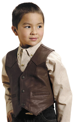 Roper Boys' Western Nappa Leather Vest, Brown, hi-res
