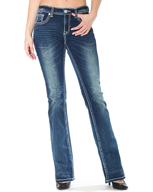 Grace in LA Women's Cross Flap Pockets Jeans - Boot Cut, Indigo, hi-res