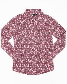 Shyanne Girls' Rhinestone Dark Pink Paisley Print Long Sleeve Western Shirt, Pink, hi-res