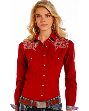 Rough Stock by Panhandle Women's Burgundy Checkered Embroidered Yoke Shirt, Burgundy, hi-res