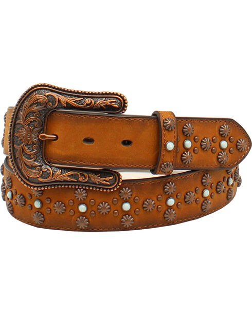 Ariat Women's Leather Studded Stone Western Belt, Tan, hi-res