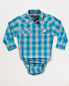 Cody James Infant Boys' Briar Patch Plaid Long Sleeve Snap Western Onesie , Teal, hi-res
