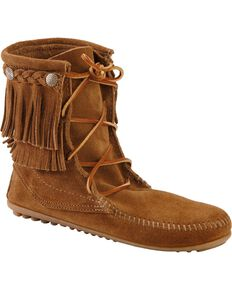Minnetonka Double Fringe Tramper Moccasin, Dusty Brn, hi-res