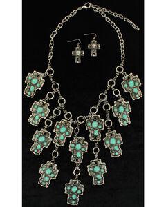 Blazin Roxx Turquoise Mosaic Cross Necklace & Earrings Set, Turquoise, hi-res