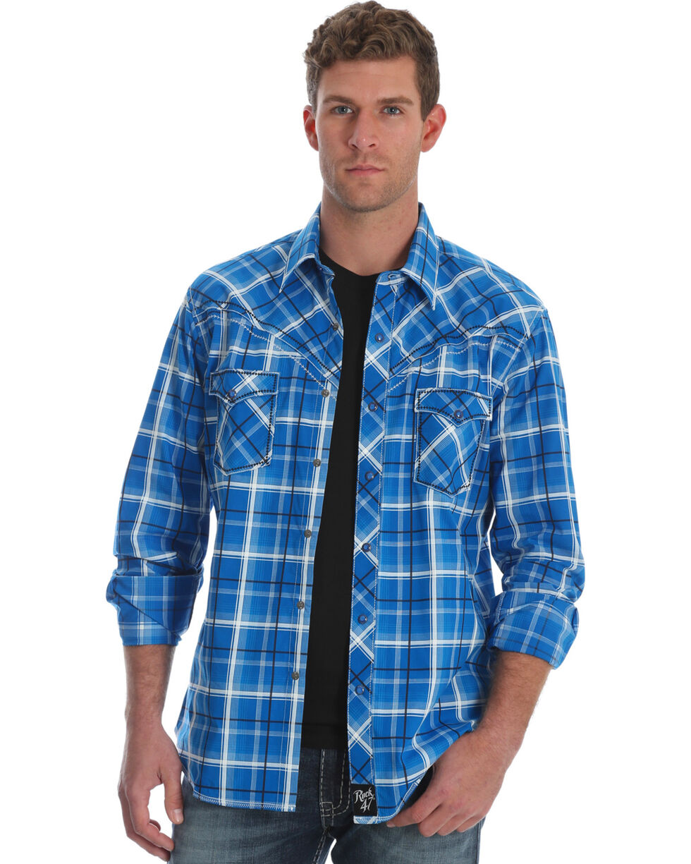 Wrangler Rock 47 Men's Blue Plaid Western Shirt , Blue, hi-res