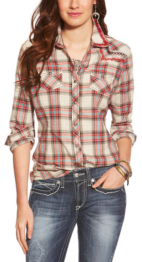 Ariat Women's Astoria Plaid Snap Shirt , White, hi-res