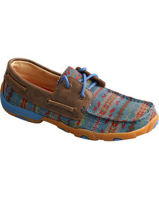 Twisted X Women's Blue Multi-Pattern Driving Moccasins, Brown, hi-res