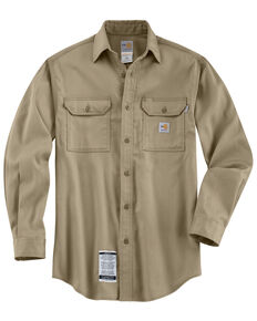 Carhartt Men's Flame Resistant Work-Dry® Twill Long Sleeve Shirt - Big & Tall, Khaki, hi-res
