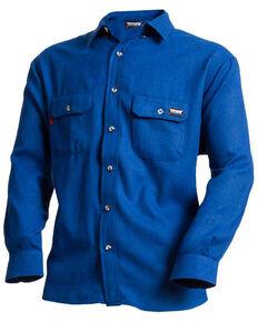 Tecgan Men's Royal Blue Solid FR Long Sleeve Work Shirt - Big , Royal Blue, hi-res