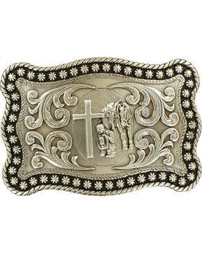 Nocona Men's Silver Cowboy Prayer Belt Buckle , Silver, hi-res