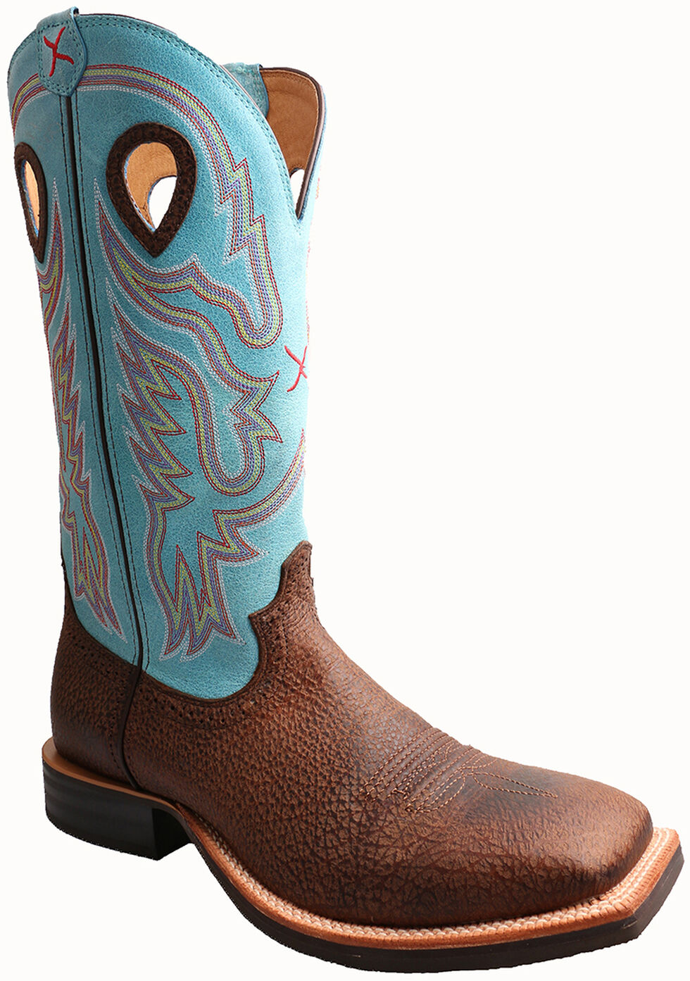 Twisted X Light Blue Ruff Stock Cowboy Boots - Square Toe, Brown, hi-res