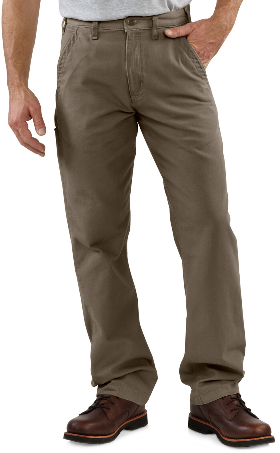 Carhartt Khaki Canvas Work Pants, Mushroom, hi-res