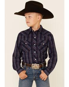 Roper Boys' Multi Windowpane Plaid Long Sleeve Snap Western Shirt , Navy, hi-res