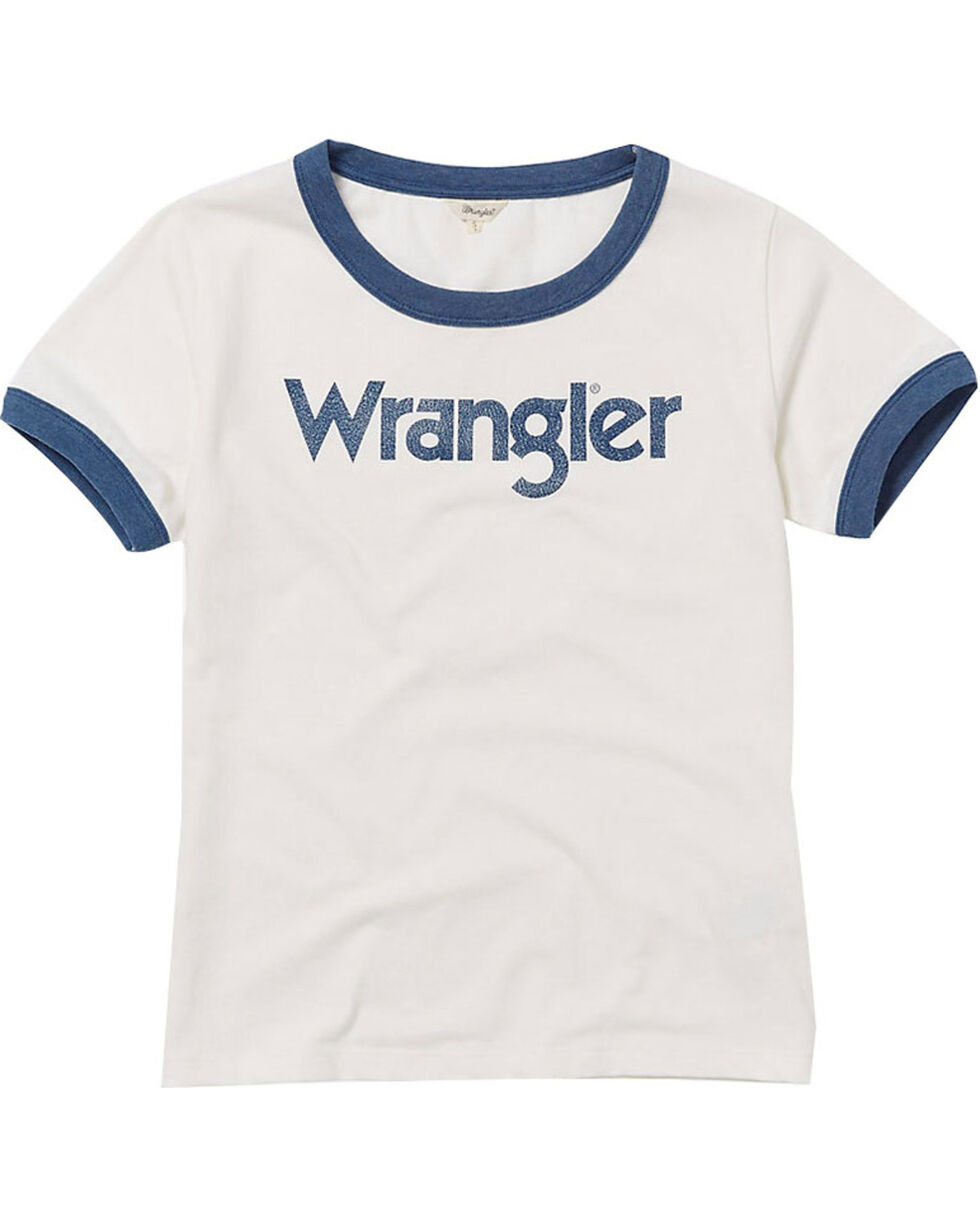 Wrangler Women's 70th Anniversary Navy Retro Kabel Logo Ringer Tee, Navy, hi-res