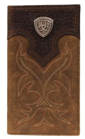 Ariat Boot Stitched Rodeo Wallet, Med Brown, hi-res