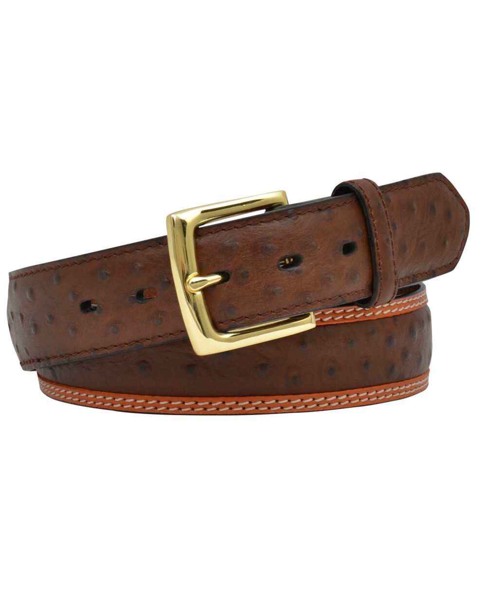 3D Men's Ostrich Print Leather Dress Belt, Tan, hi-res