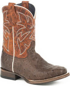 Roper Boys' Buddy Embossed Ostrich Cowboy Boots - Square Toe, Brown, hi-res